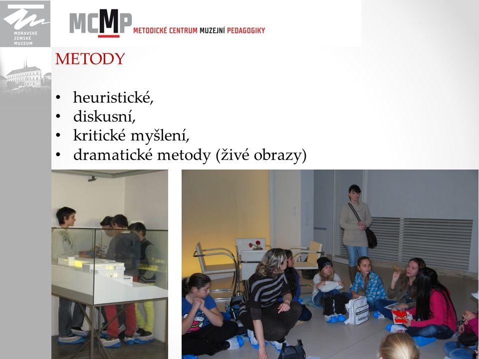 METODY heuristické, diskusní, kritické myšlení, dramatické metody (živé obrazy)