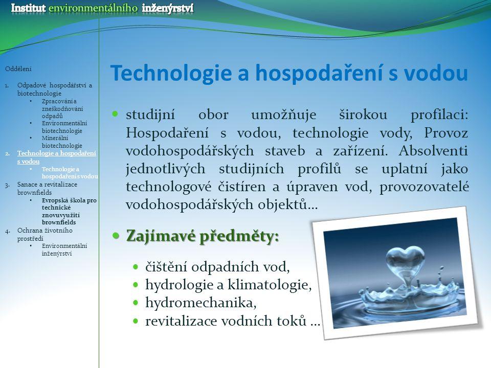 Technologie a hospodaření s vodou