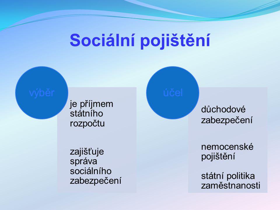 Sociální pojištění výběr účel je příjmem státního rozpočtu