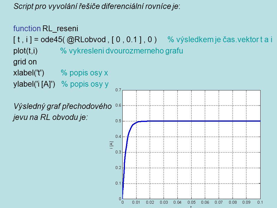 Script pro vyvolání řešiče diferenciální rovníce je: