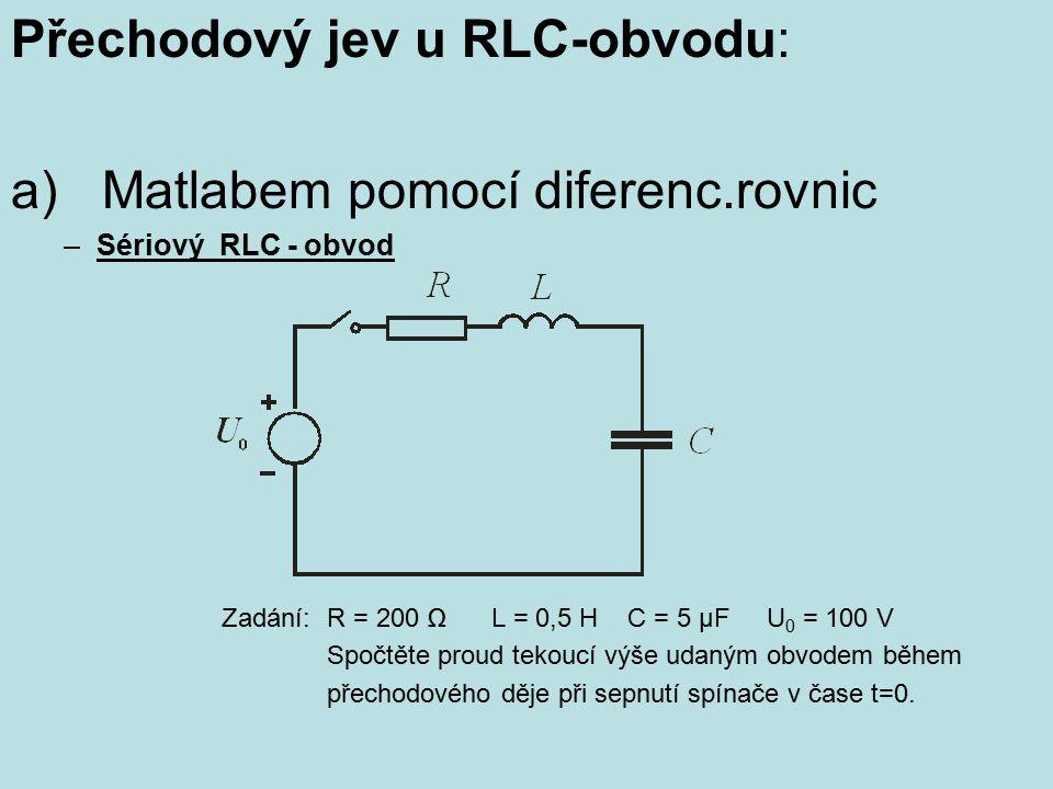 Přechodový jev u RLC-obvodu: a) Matlabem pomocí diferenc.rovnic