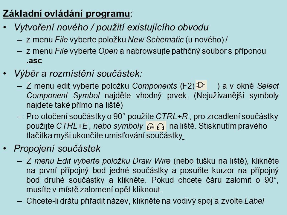 Základní ovládání programu: