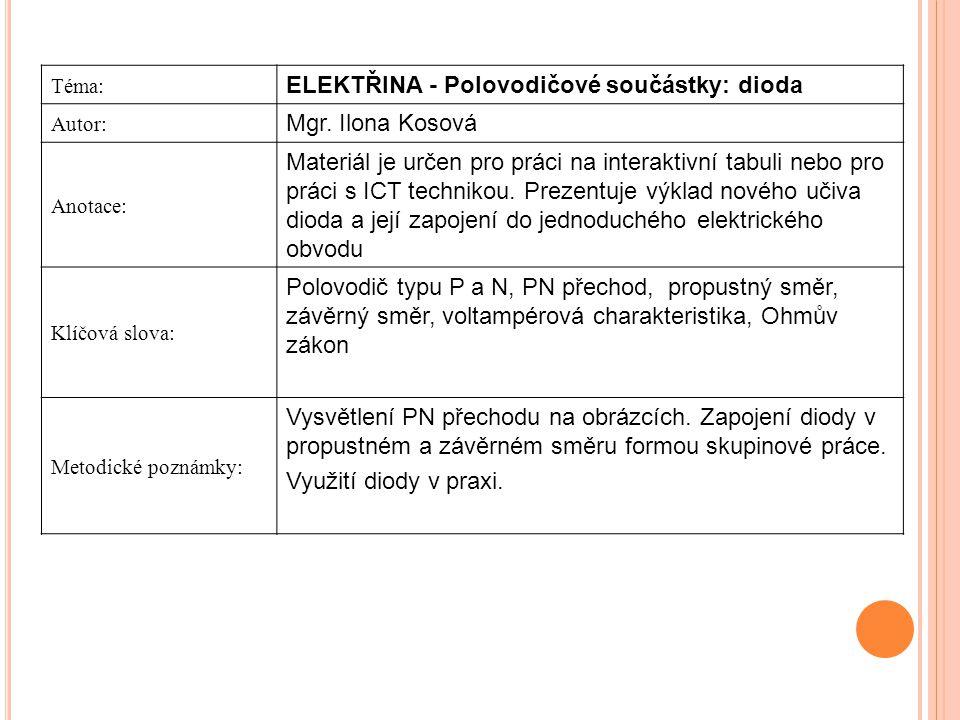 ELEKTŘINA - Polovodičové součástky: dioda Mgr. Ilona Kosová