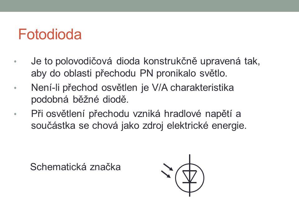 Fotodioda Je to polovodičová dioda konstrukčně upravená tak, aby do oblasti přechodu PN pronikalo světlo.