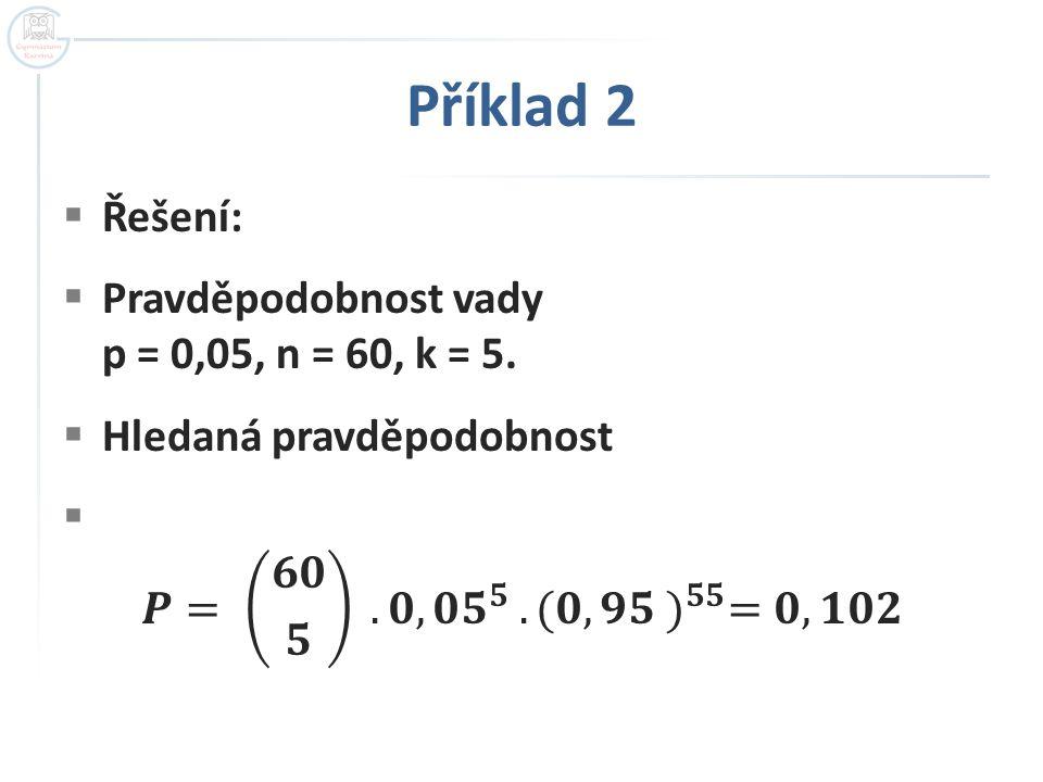 Příklad 2 Řešení: Pravděpodobnost vady p = 0,05, n = 60, k = 5.