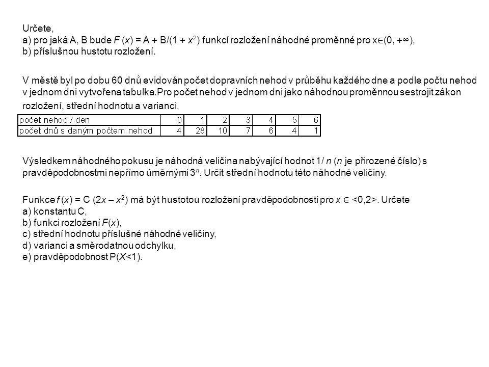 Určete, a) pro jaká A, B bude F (x) = A + B/(1 + x2) funkcí rozložení náhodné proměnné pro x∈(0, +∞), b) příslušnou hustotu rozložení.