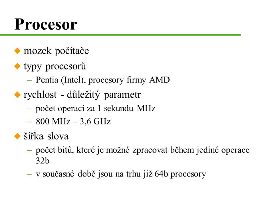 Procesor mozek počítače typy procesorů rychlost - důležitý parametr