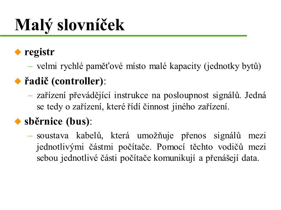 Malý slovníček registr řadič (controller): sběrnice (bus):