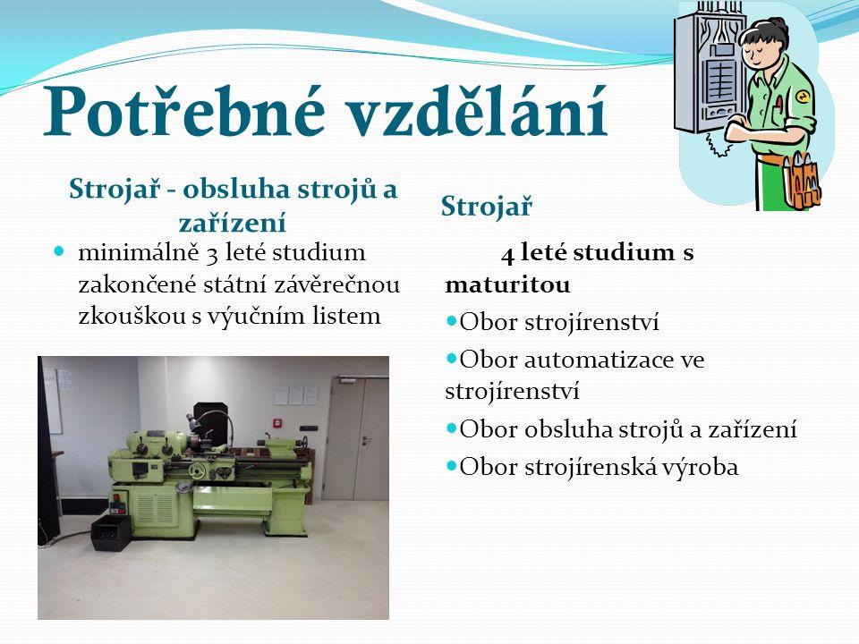 Strojař - obsluha strojů a zařízení