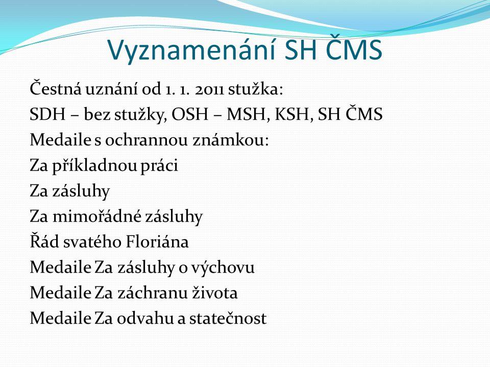 Vyznamenání SH ČMS Čestná uznání od 1. 1. 2011 stužka: