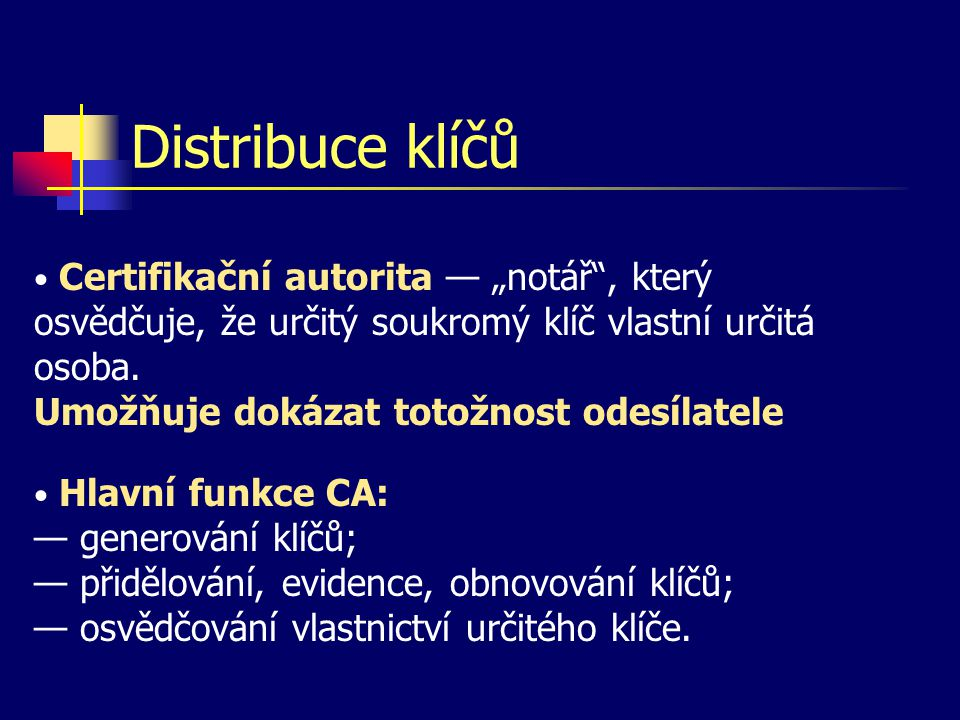 Distribuce klíčů