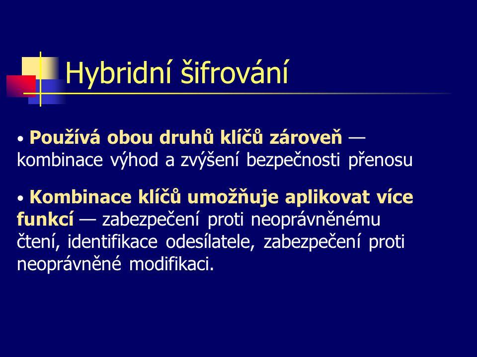 Hybridní šifrování Používá obou druhů klíčů zároveň — kombinace výhod a zvýšení bezpečnosti přenosu.