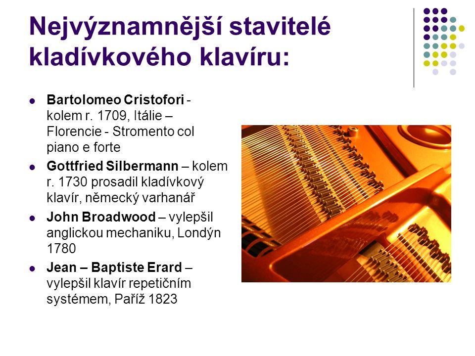 Nejvýznamnější stavitelé kladívkového klavíru: