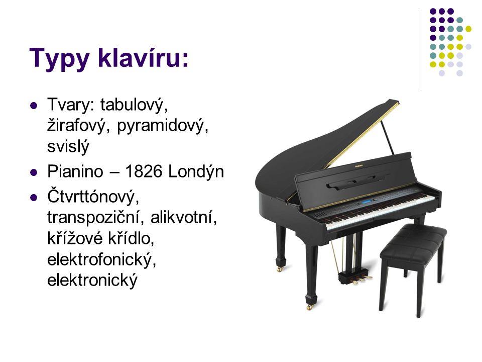 Typy klavíru: Tvary: tabulový, žirafový, pyramidový, svislý