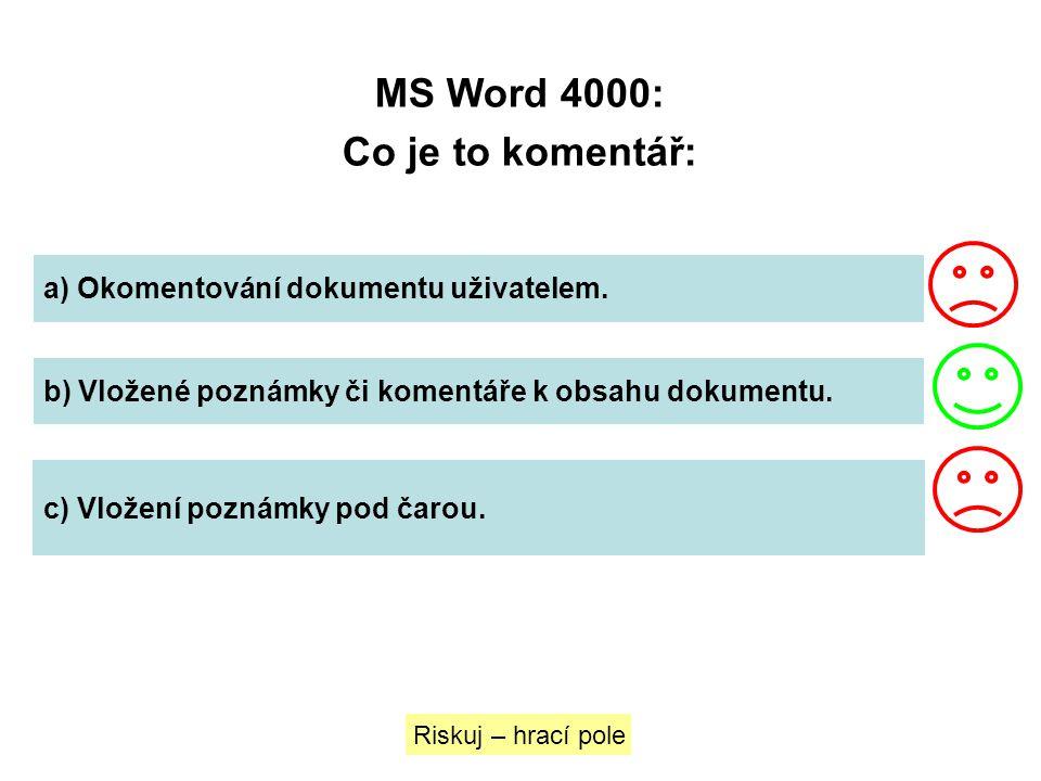 MS Word 4000: Co je to komentář: