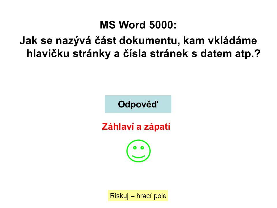 MS Word 5000: Jak se nazývá část dokumentu, kam vkládáme hlavičku stránky a čísla stránek s datem atp.