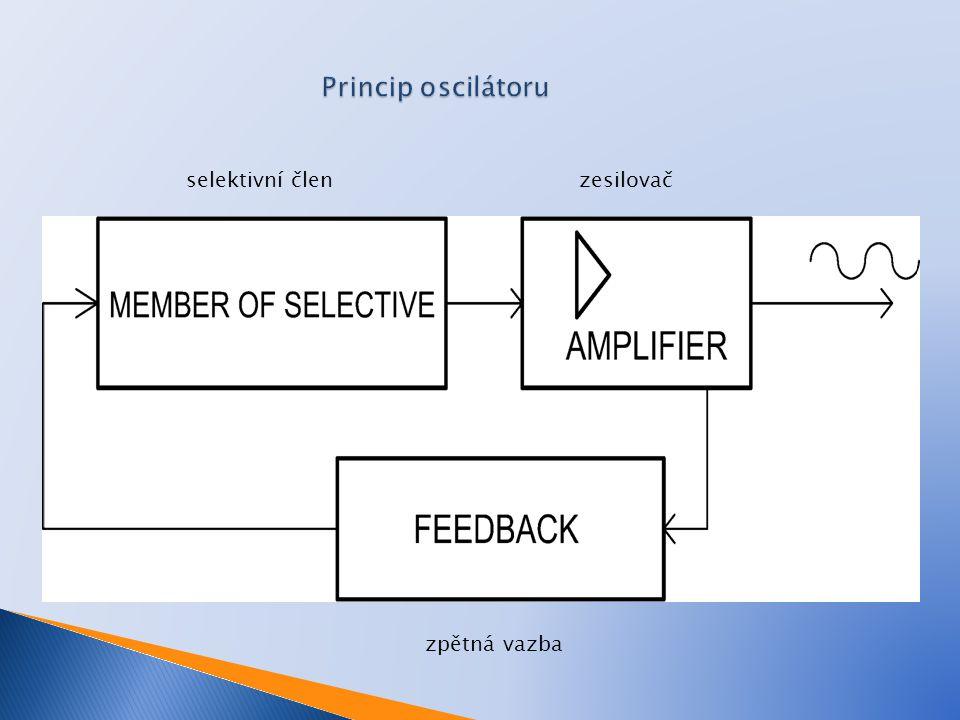 Princip oscilátoru selektivní člen zesilovač zpětná vazba