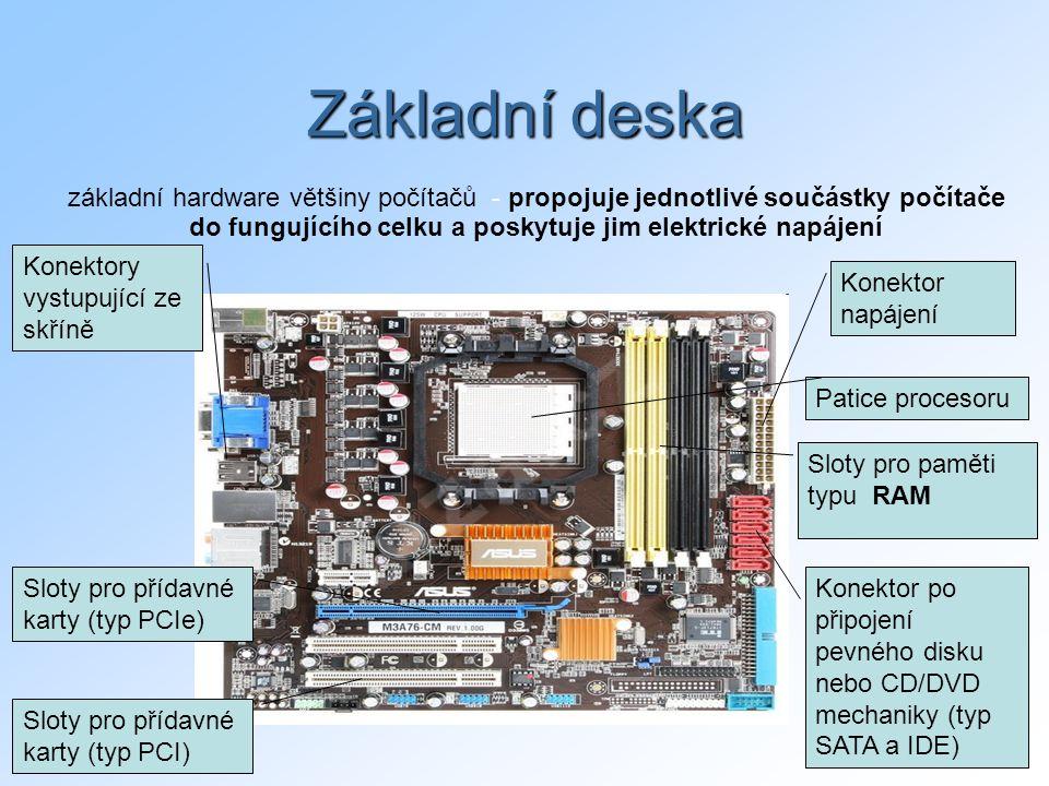 Základní deska základní hardware většiny počítačů - propojuje jednotlivé součástky počítače do fungujícího celku a poskytuje jim elektrické napájení.