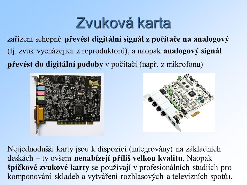 Zvuková karta zařízení schopné převést digitální signál z počítače na analogový. (tj. zvuk vycházející z reproduktorů), a naopak analogový signál.