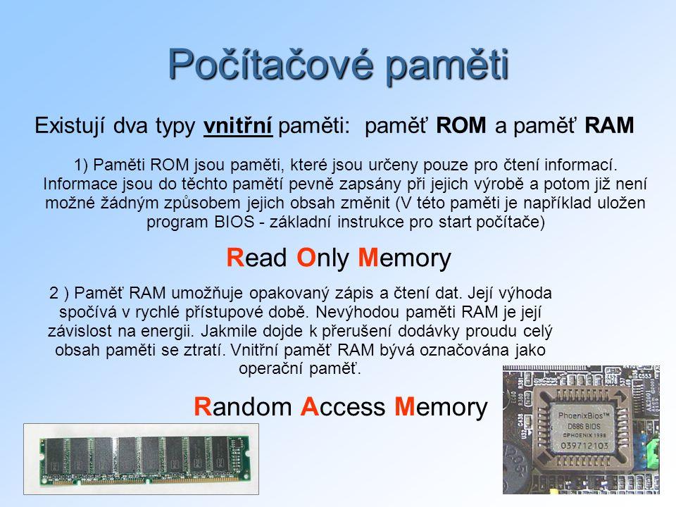 Existují dva typy vnitřní paměti: paměť ROM a paměť RAM