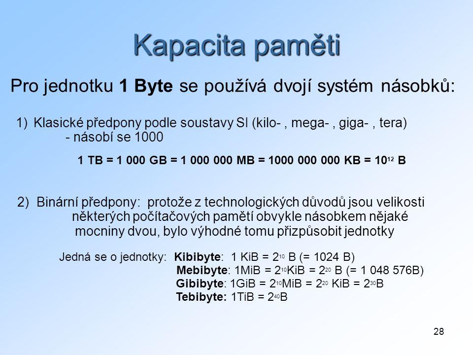Kapacita paměti Pro jednotku 1 Byte se používá dvojí systém násobků: