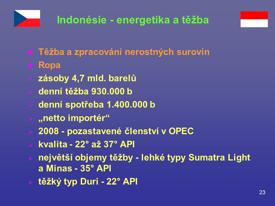 Indonésie - energetika a těžba