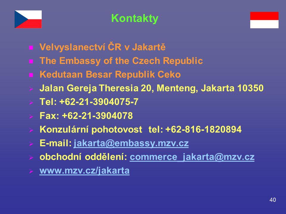 Kontakty Velvyslanectví ČR v Jakartě The Embassy of the Czech Republic