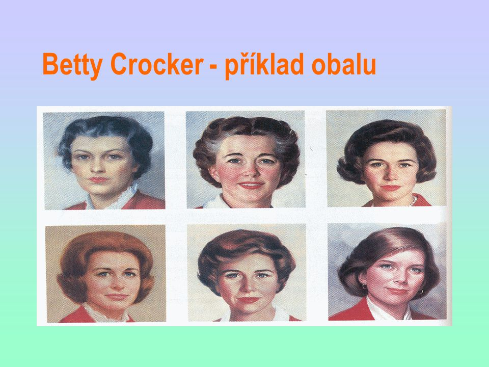 Betty Crocker - příklad obalu