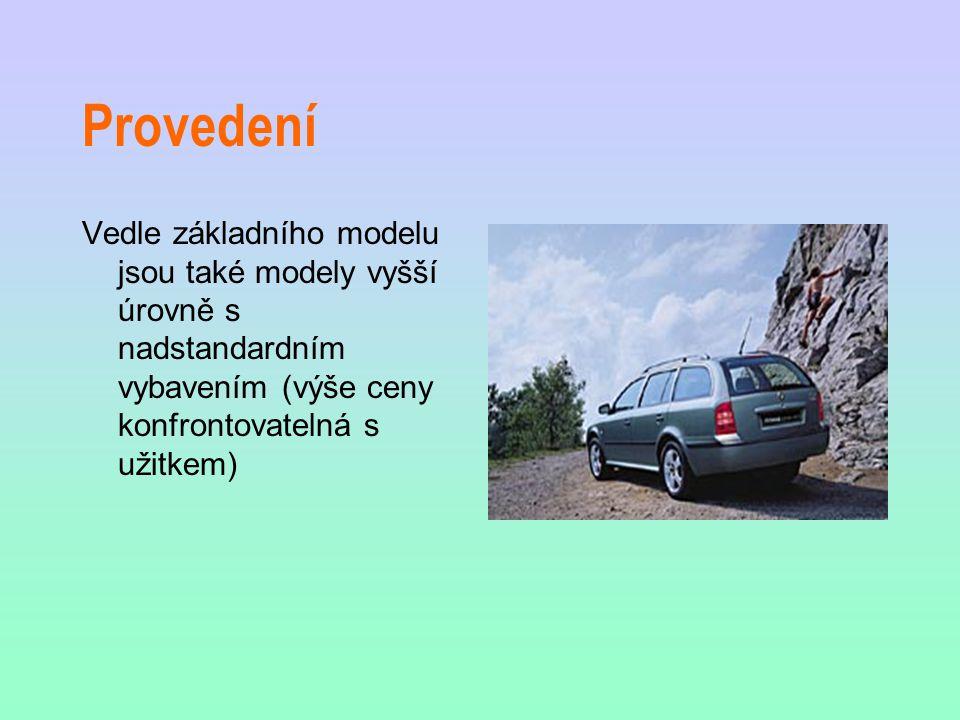 Provedení Vedle základního modelu jsou také modely vyšší úrovně s nadstandardním vybavením (výše ceny konfrontovatelná s užitkem)