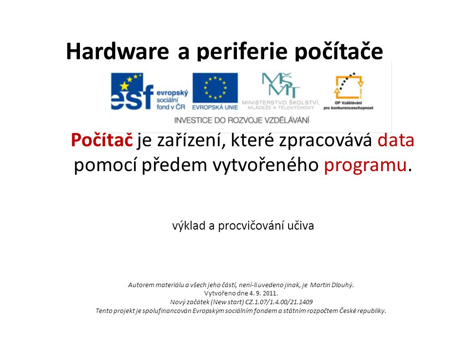 Hardware a periferie počítače