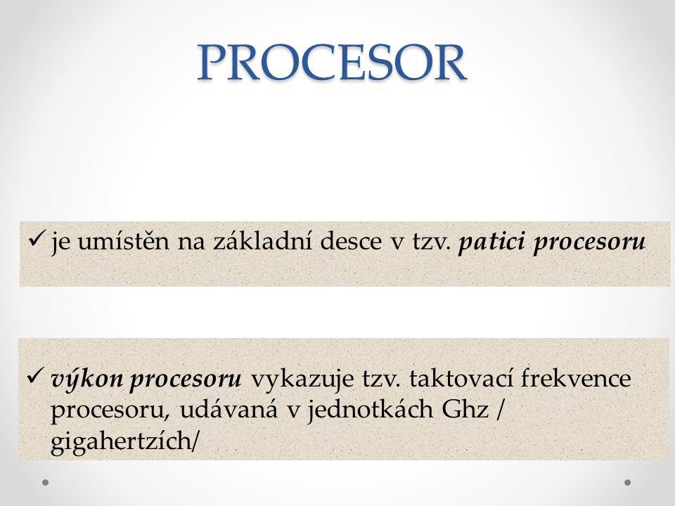 PROCESOR je umístěn na základní desce v tzv. patici procesoru