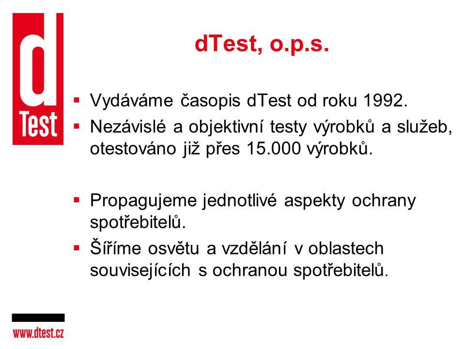 dTest, o.p.s. Vydáváme časopis dTest od roku 1992.