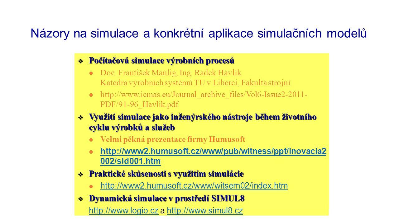 Názory na simulace a konkrétní aplikace simulačních modelů