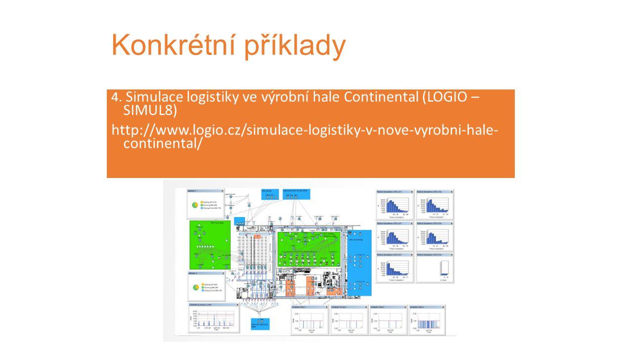 Konkrétní příklady 4. Simulace logistiky ve výrobní hale Continental (LOGIO – SIMUL8)