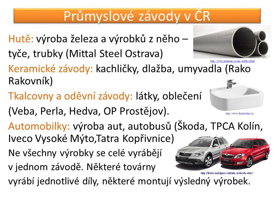 Průmyslové závody v ČR Hutě: výroba železa a výrobků z něho –