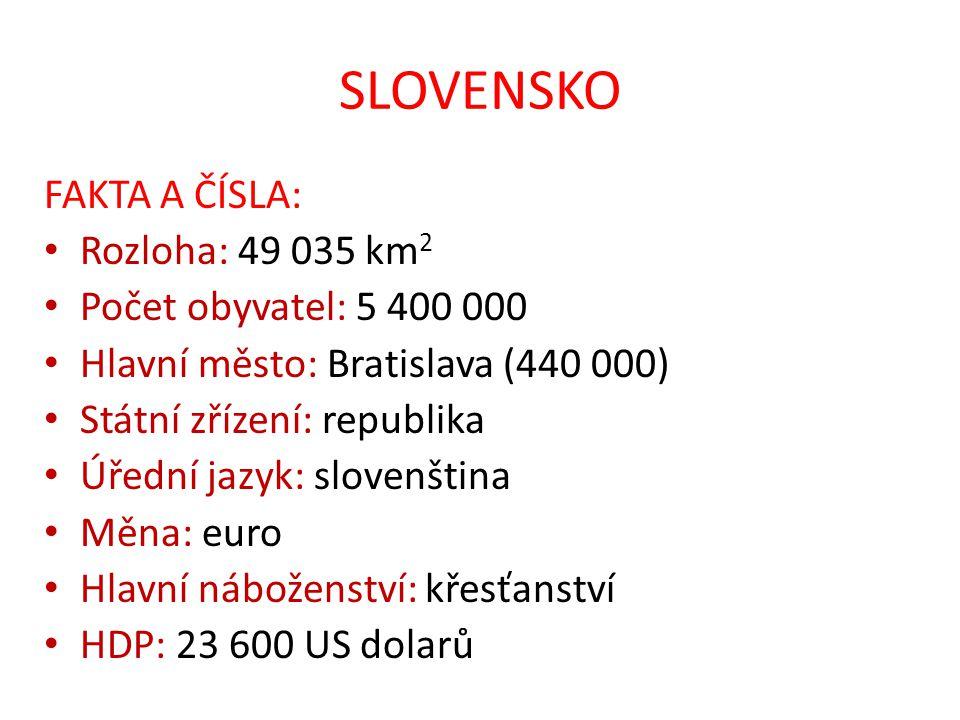 SLOVENSKO FAKTA A ČÍSLA: Rozloha: 49 035 km2 Počet obyvatel: 5 400 000