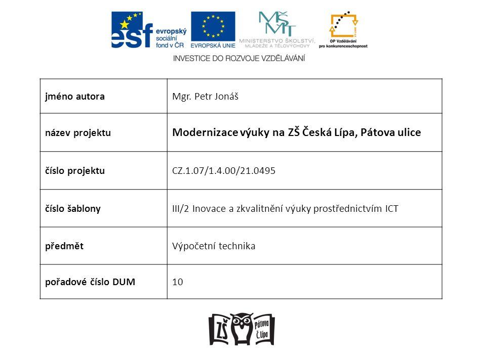 Modernizace výuky na ZŠ Česká Lípa, Pátova ulice
