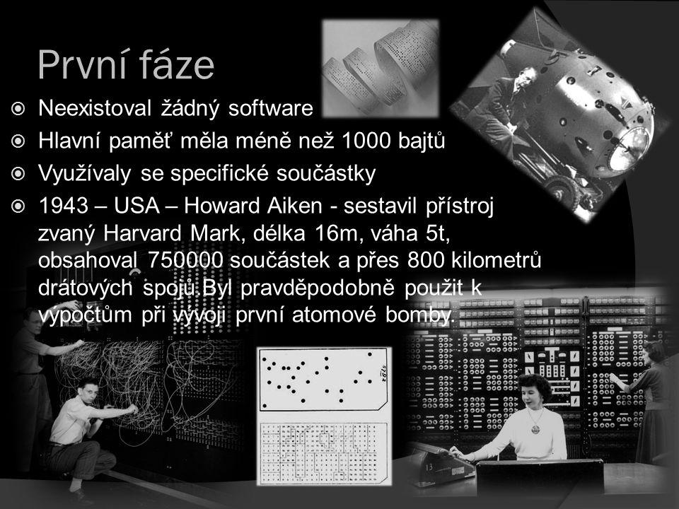První fáze Neexistoval žádný software