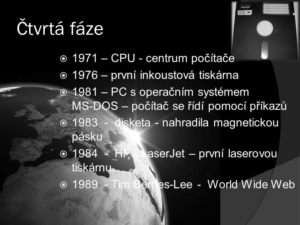 Čtvrtá fáze 1971 – CPU - centrum počítače