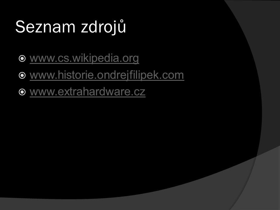 Seznam zdrojů www.cs.wikipedia.org www.historie.ondrejfilipek.com