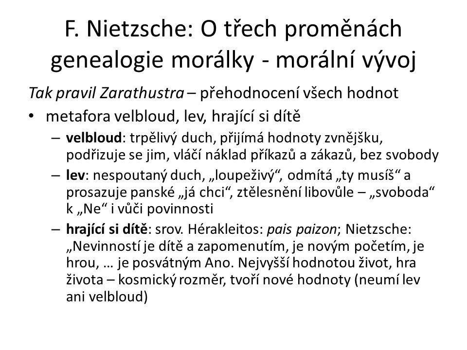F. Nietzsche: O třech proměnách genealogie morálky - morální vývoj