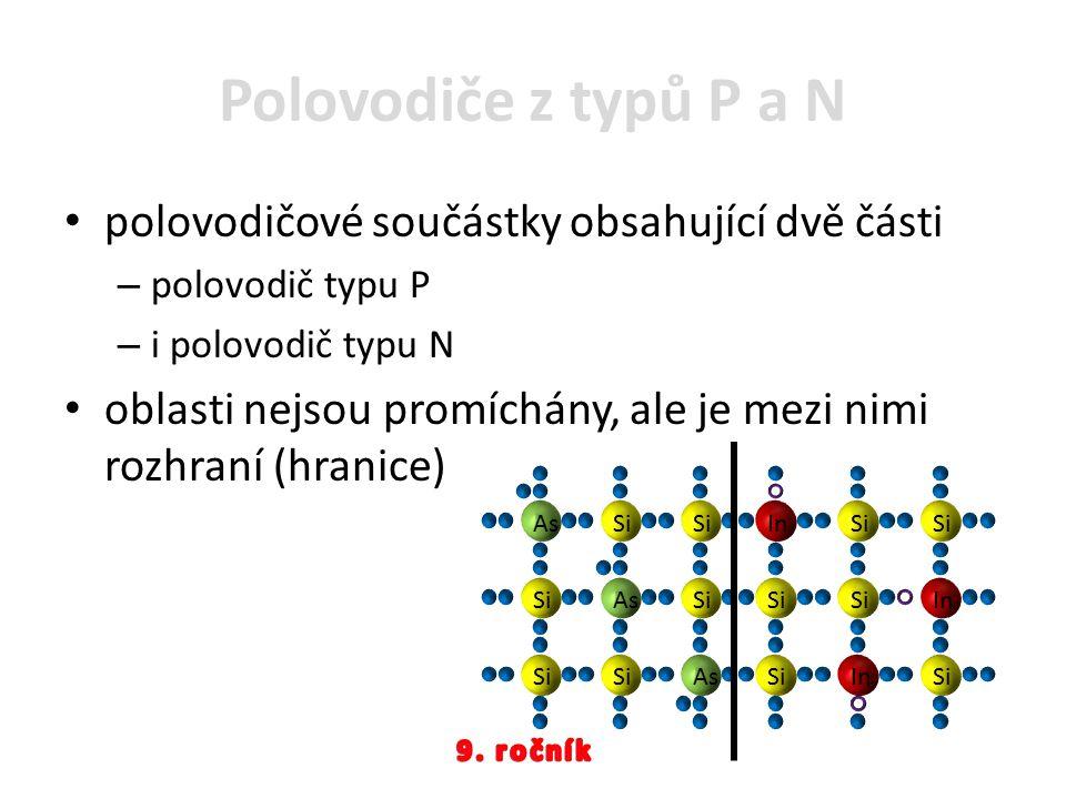 Polovodiče z typů P a N polovodičové součástky obsahující dvě části