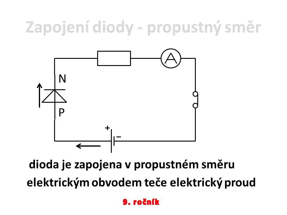 Zapojení diody - propustný směr