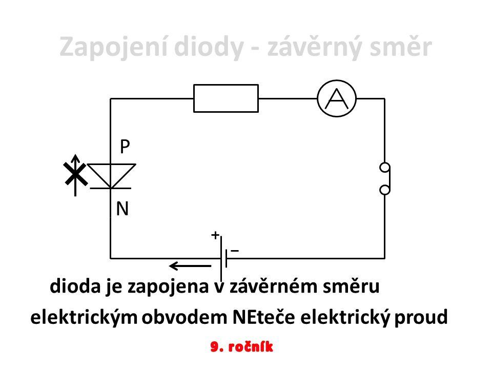 Zapojení diody - závěrný směr