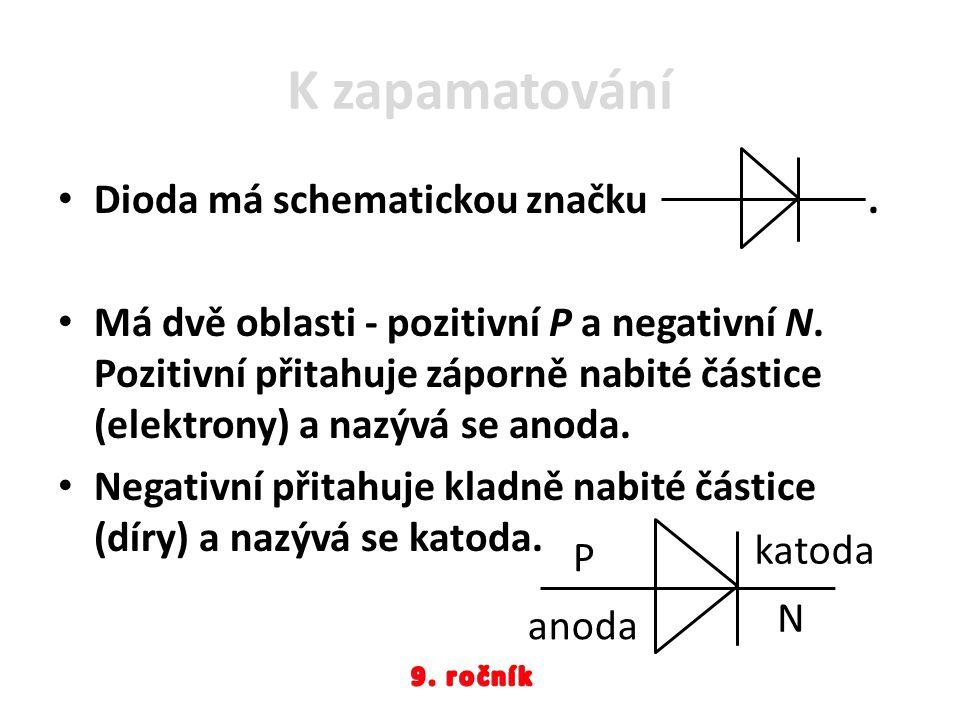 K zapamatování Dioda má schematickou značku .