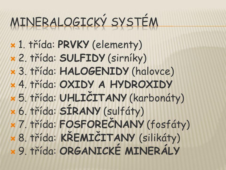 Mineralogický systém 1. třída: PRVKY (elementy)