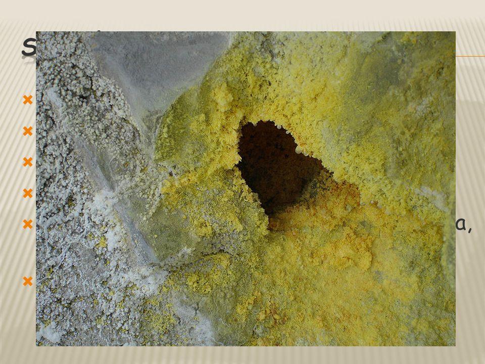 s - síra světle žlutá barva charakteristický zápach snadno hoří