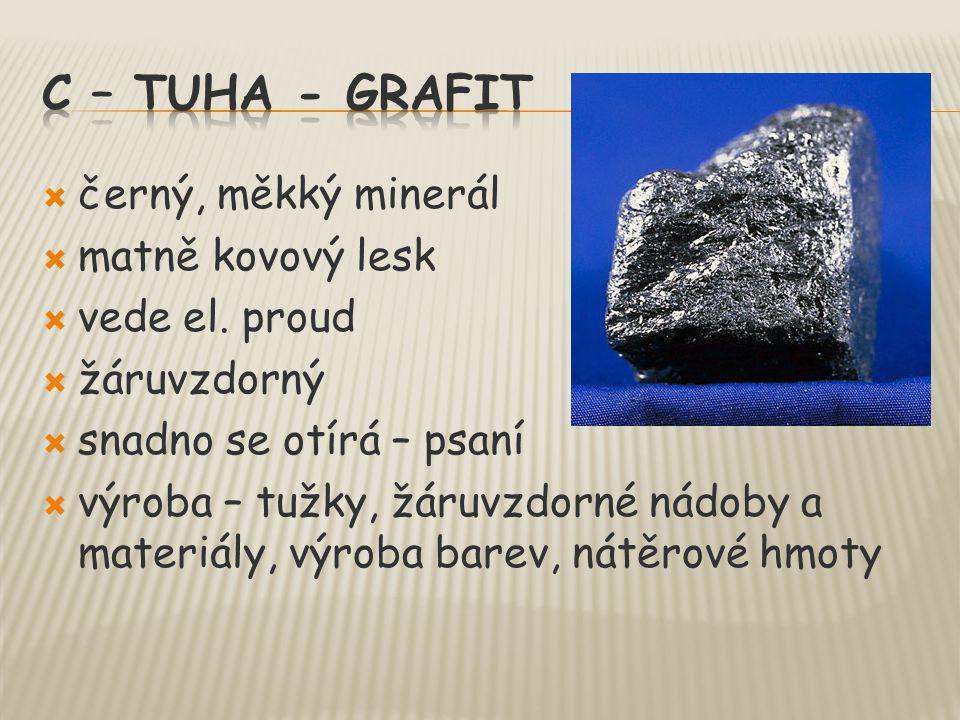 c – tuha - grafit černý, měkký minerál matně kovový lesk