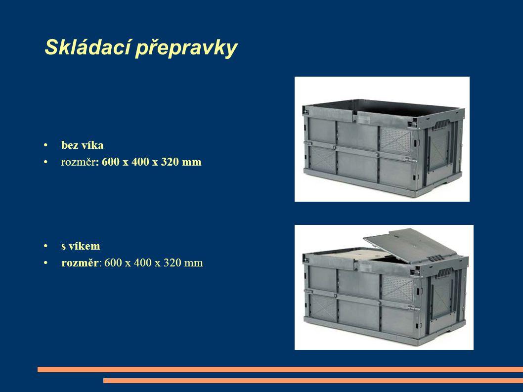 Skládací přepravky bez víka rozměr: 600 x 400 x 320 mm s víkem