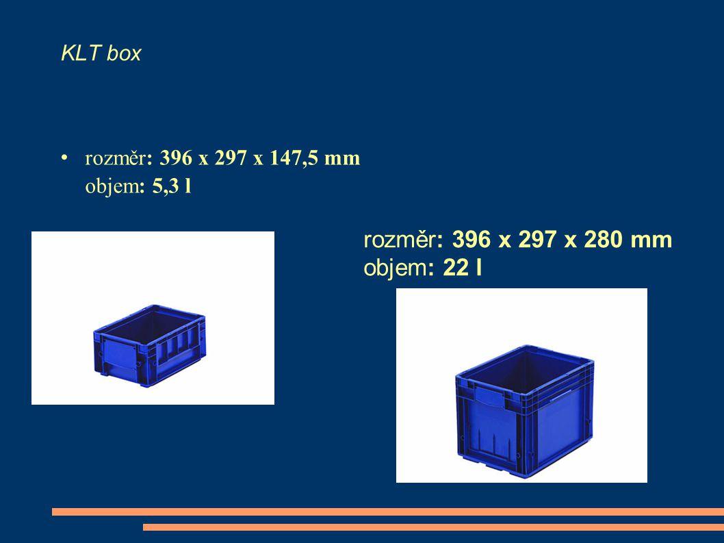 rozměr: 396 x 297 x 280 mm objem: 22 l KLT box